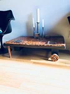 VINTAGE FACTORY CART COFFEE TABLE RECLAIMED BURNT PINE WOOD
