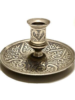 Old World Engraved Pewter Candle Holder For Taper Candle, Vintage -