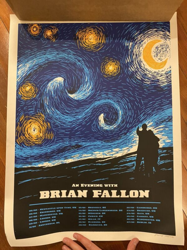 Brian Fallon Poster Starry Night European Tour Poster 2019 Gaslight Anthem