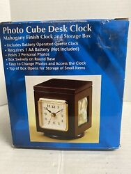 Mahogany Finish Photo Cube Desk Clock & Storage Bin
