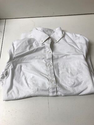 Lee Uniforms Juniors Long Sleeve Stretch Oxford Blouse, White, Small ()
