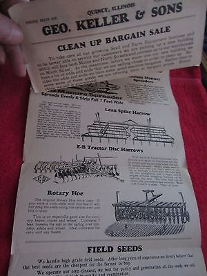 1920s-30s Geo. Keller Sons Quincy Illinois Farm Equipment Bargain Sale Flyer