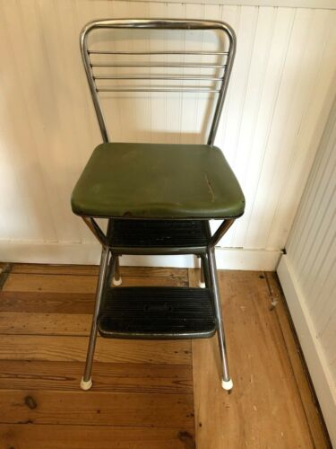 Vintage Midcentury Cosco Flip Top Stylaire Step Stool Kitchen Seat Green and Chr