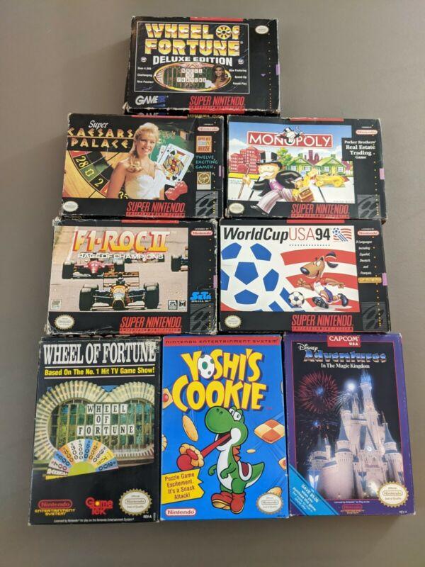 Lot of 8 Super Nintendo & NES Games in Box - Yoshi
