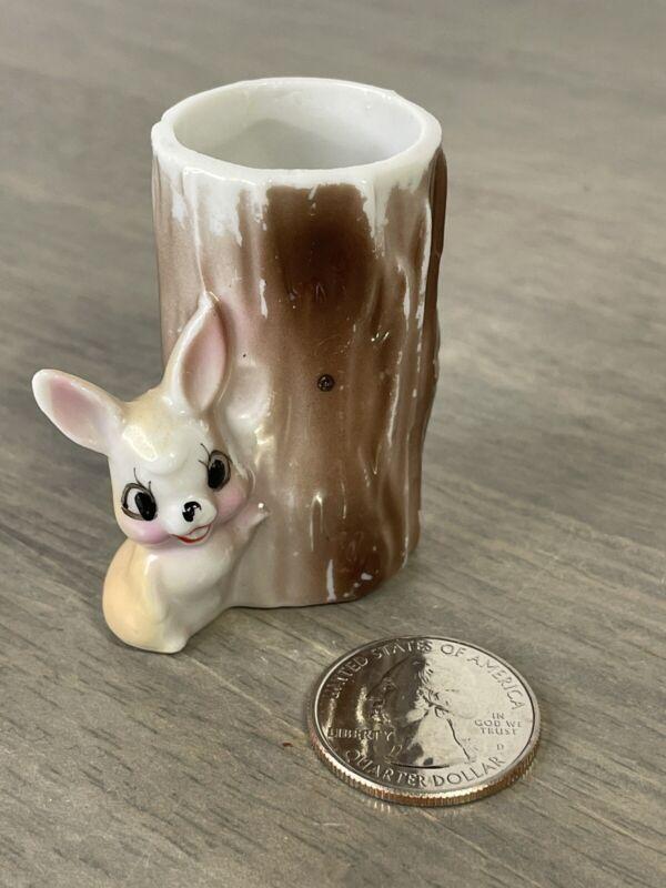 Vintage Mini Bunny Rabbit Hugging Tree Trunk TOOTHPICK HOLDER Figurine Japan