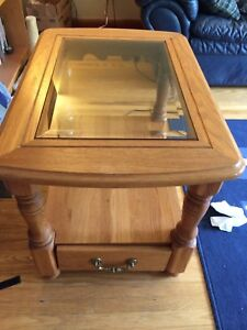 Set of two solid wood end tables