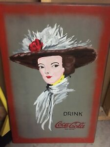 """COCA-COLA PAINTED WOOD SIGN 28""""x18"""". Coke advertising."""