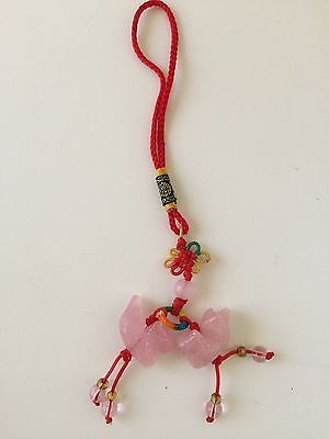 USA SELLER FENG SHUI ROSE QUARTZ MANDARIN DUCKS AMULET CHARM LOVE