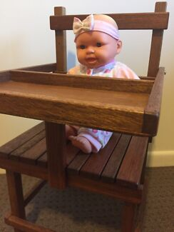 Vintage wooden toy high chair