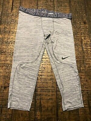 Nike Mens Pro 3/4 Length Compresson Tights Heather Grey 876643 012 Sz 3XL