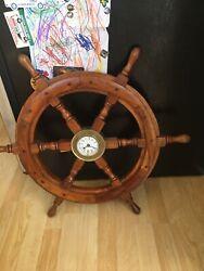 NAUTICAL Marine Navigation SHIP WHEEL with BRASS QUARTZ WALL CLOCK 18