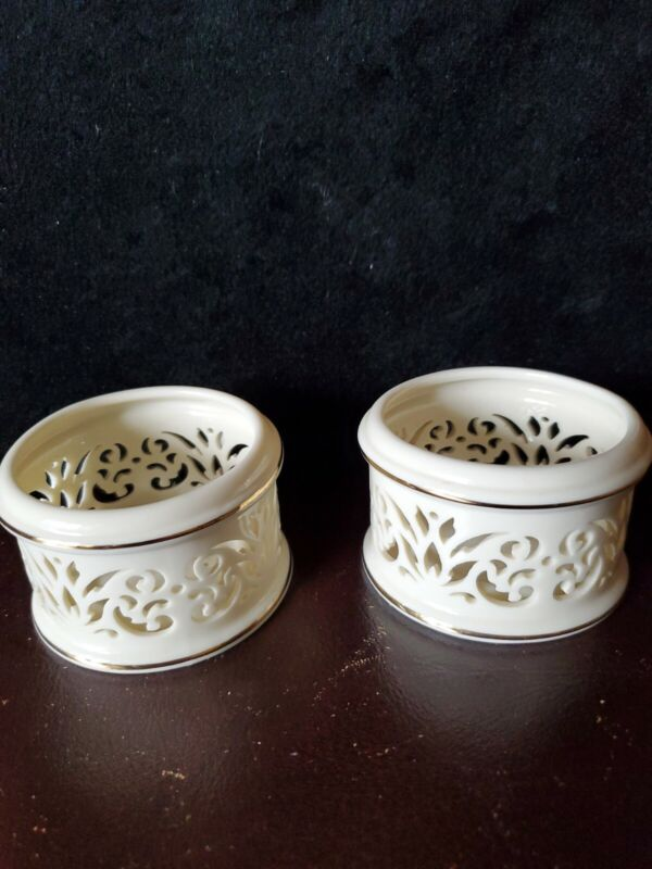 2 Lenox Ivory Lace Pierced Votive Candle Holders 24k Gold Illuminations