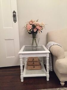 French provincial hamptons side table with rattan insert base Burwood Heights Burwood Area Preview