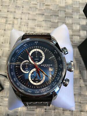 Men's Akribos XXIV AK915BU Blue Chronograph Brown Leather With White Stitching
