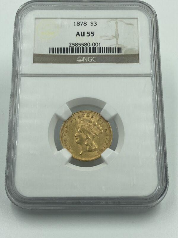 1878 NGC AU55 $3 Gold Indian Princess Tough To Find