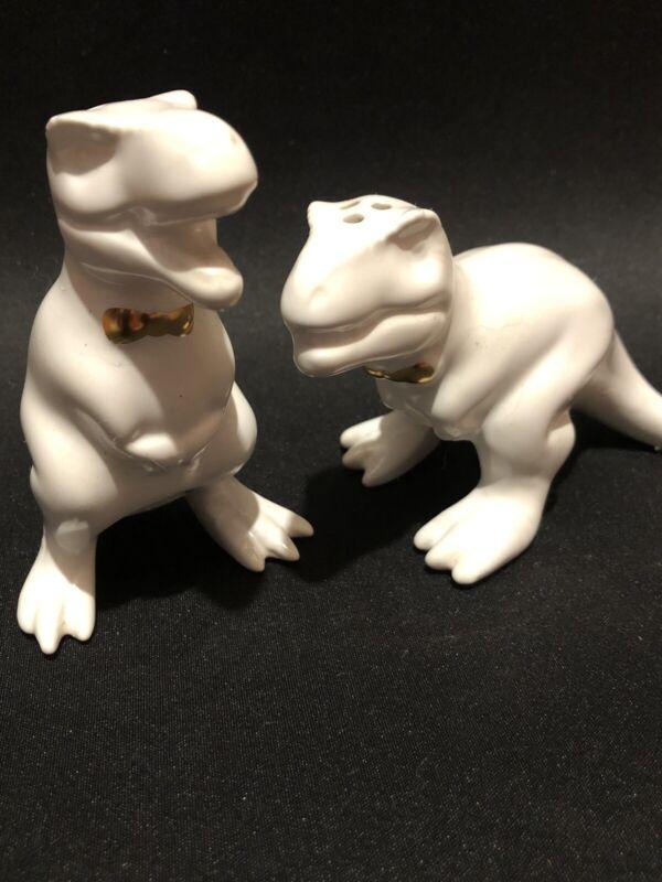 T-Rex White Stoneware Dinosaur Salt and Pepper Shakers Retired Target