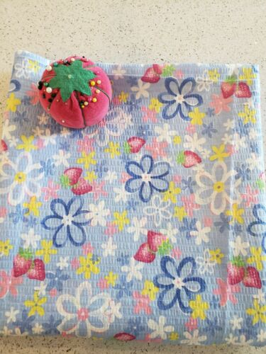 Vintage VTG 1990s Cotton Floral Strawberry Plisse Fabric  - 2 Yards x 44 WOF