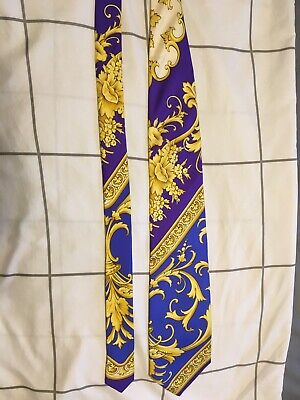 Vintage 90s Gianni Versace Gold and Santorini blue White Baroque Purple silk tie