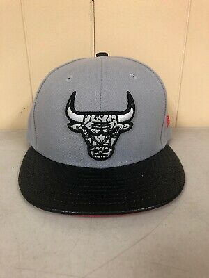 Size 7 3/4 Chicago Bulls Windy City New Era 59 Fifty NBA Fitted Cement Hat/Cap - Windy City