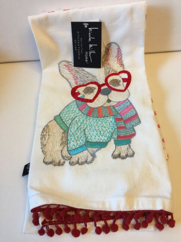 SPECIAL CLEARANCE PRICED FRENCH BULLDOG Love Kitchen Towels 2 Design