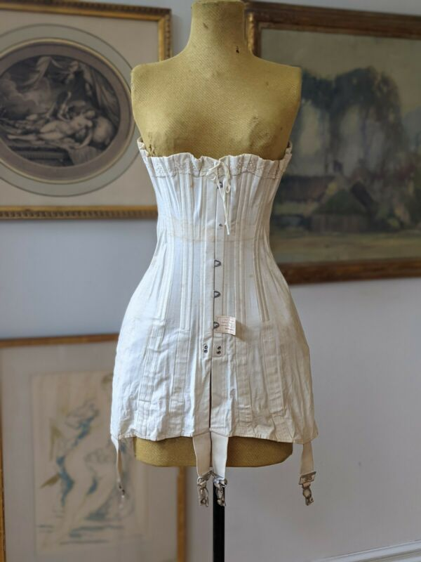 Antique Corset Edwardian Era Kabo 1900 - 1915 Original Label Historical Dress