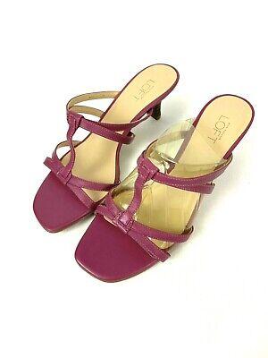Ann Taylor Loft Heels Size 6.5 Pink Rouge Ankle Strap Sandals Platform Heels