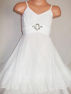 GIRLS CREAMY WHITE SPARKLY DIAMONTE BUTTERFLY TRIM CHIFFON PARTY DRESS age 5-6 (Girls White Party Kleider)
