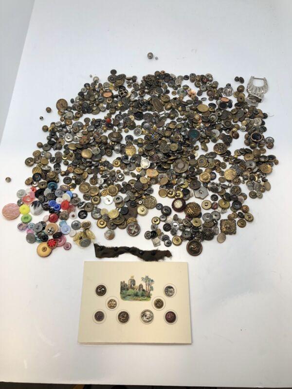 Huge Assortment 1000+ Of Rare Antique Metal Brass Wood Glass Buttons 3 Lbs 7 Oz