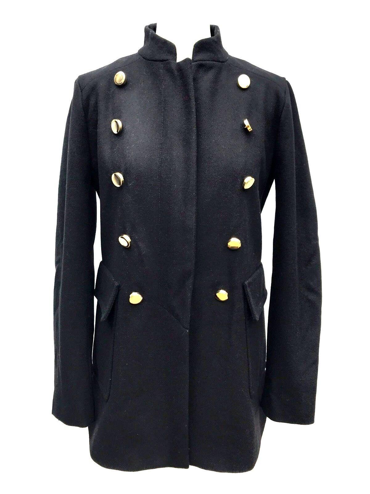 Dettagli su Zara Giacca Militare Cappotto di Lana Taglia Media Ref 8234 600 Nuovo