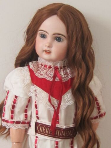 """perruque Auburn Jumeau boucles®T28/29cm-poupée ancienne-doll wig head sz11"""""""