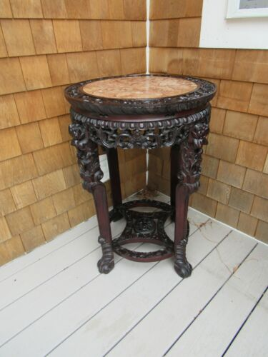 ANTIQUE 19THc. CHINESE MARBLE TOP INSET TABLE, HIGHLY CARVED  ZHI WOOD