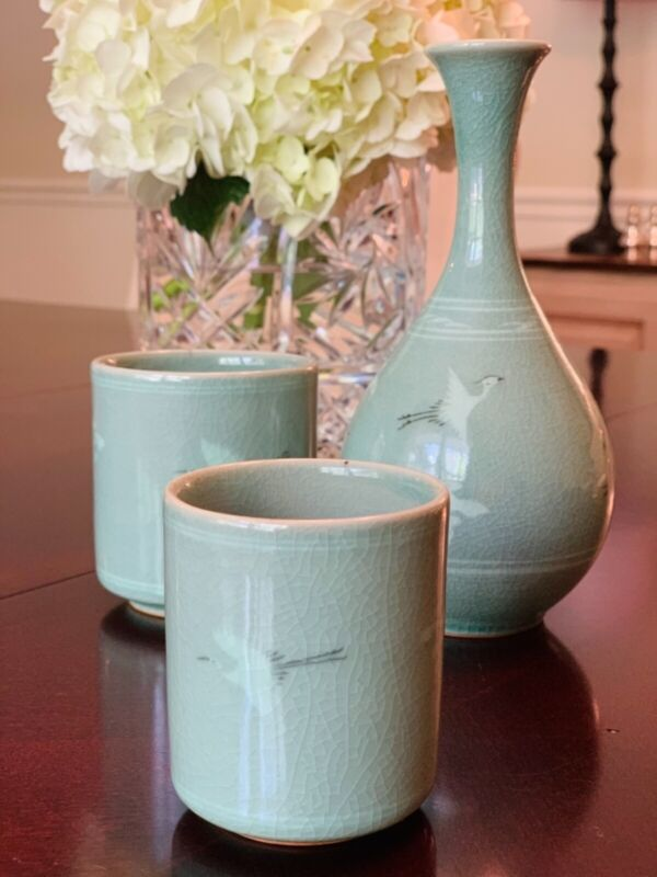 Korean Celadon Couples Cups & Sake Vase. Charming milky blue green with cranes!