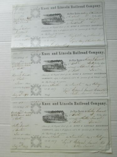 THREE (3), KNOX AND LINCOLN RAILROAD COMPANY STOCKS ON ONE SHEET 1876-77, MAINE