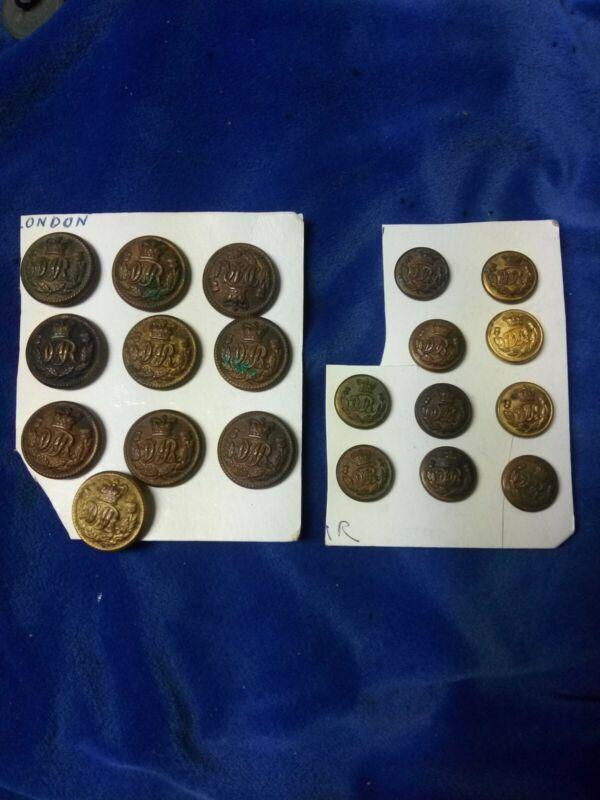 20 Vintage DAR Dominion Atlantic Railway Buttons Hicks & Son 10 Lg & 10 Small