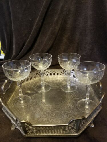 CRYSTAL FLOWER ETCHED  4 VINTAGE CHAMPAGNE, WINE, COCKTAIL, & STEMWARE