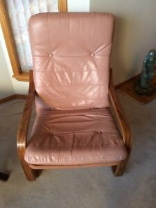 Oak and leather chair