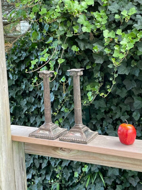 Antique Ionic Column Weighted Unmarked Silver Candle Sticks Distressed