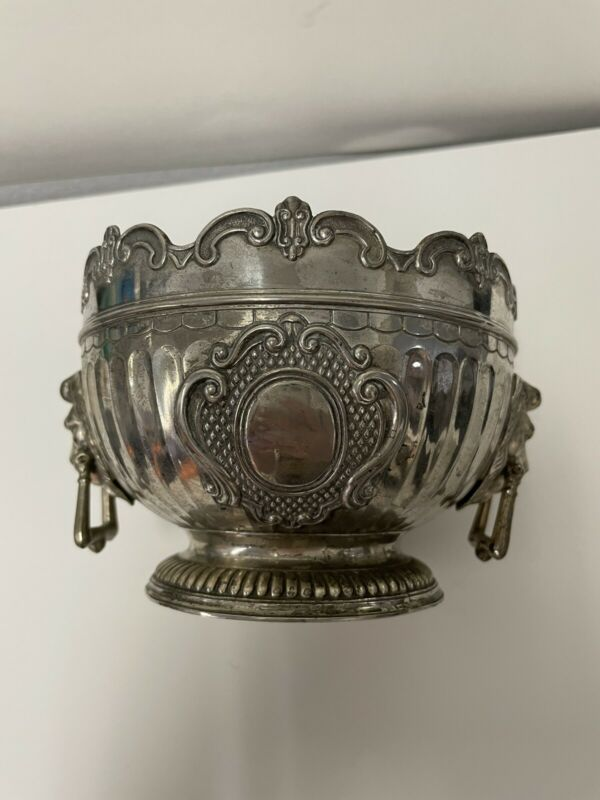 C & CO Corbell Lion Head Monteith Bowl Silverplate Vintage silver-plated England