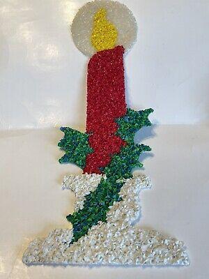 Vintage Popcorn Plastic Melted Christmas Candle Holiday Decoration