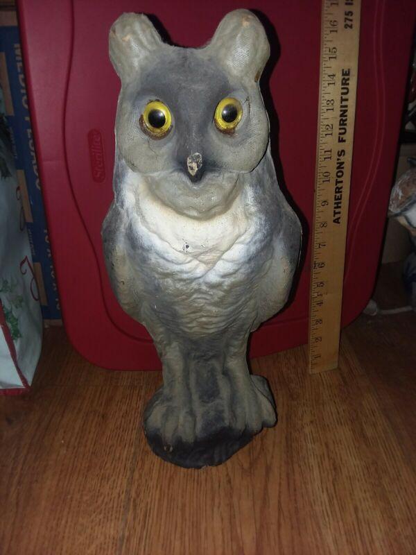 """Vintage Owl Paper Mache RARE Collectible Unique Holloween Decoration 15 3/4""""HIGH"""
