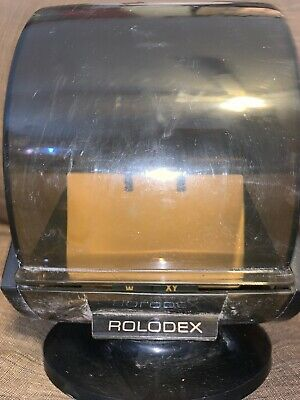 Vintage 80s Rolodex Sw-24c Large Round Swivel Office File Index Cards Wood Grain