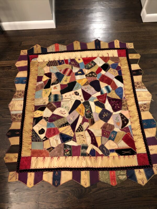 Antique Crazy Quilt With Shaped Border