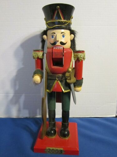 """Nutcracker 2003 Decorative Holiday Christmas 14"""" Soldier Red Coat Rifle Sword"""