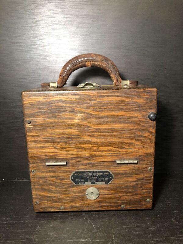 Antique Weston D.C. Ammeter in Wooden Case (1957) / FM
