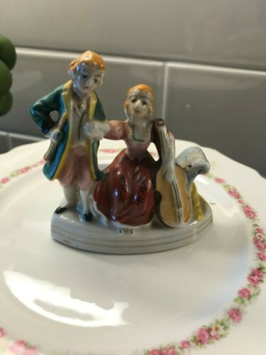 Vintage Japanese Man and Woman Figurines Classical Cello, Made in Japan