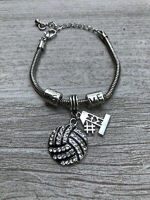 Volleyball Mom Charm Bracelet, #1 Mom Rhinestone Gift for Volleyball Moms](Volleyball Charm Bracelet)