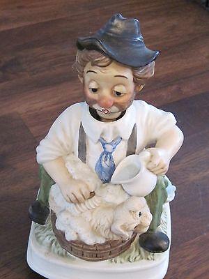 Clown Hobo dog bath figurine music box