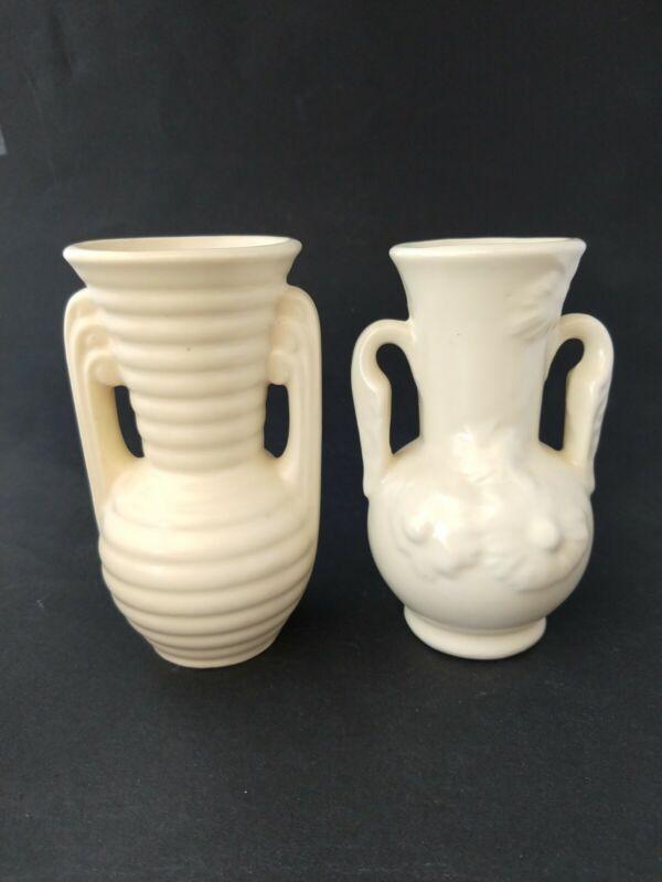 Shawnee Pottery 2 Matte Ivory Vases flowers ribbed