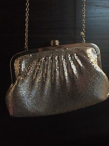 Jessica McCintock, metal mesh clutch with strap - silver