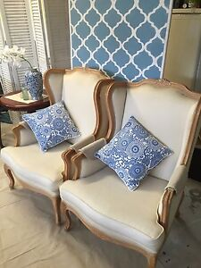 Sold Pending Pickup - Pair French Louis Accent / Occasional Chairs Cashmere Pine Rivers Area Preview